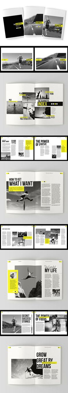 editorial design & layout I The Silhouette Brochure by Tony Huynh Editorial Design Layouts, Magazine Layout Design, Graphic Design Layouts, Magazine Layouts, Design Typo, Graphisches Design, Buch Design, Sport Design, Resume Design