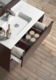 Detalle del cajón superior en el modelo M10 Bisel de Grupo diez. #baños #bain