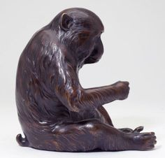japanese okimono | Japanese Bronze Okimono of a Macaque Monkey : Lot 287