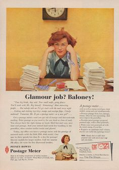 Glamour job? Baloney! This vintage office job- seems still relevant to how we all feel today. Brought to you by Shoplet.com - everything for your business.