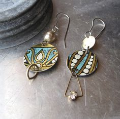 Turquoise Ornate Tin Asymmetrical Earrings-Arty by eaststreettins