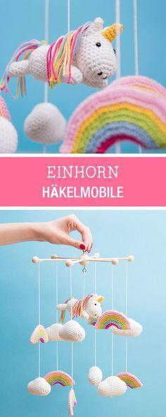 Süße Häkelanleitung mit Einhörnern und Regenbogen als Kinderzimmerdekoration, Häkeln mit Lang Yarns / crochet inspiration: baby mobile for the nursery with unicorns and rainbows via DaWanda.com