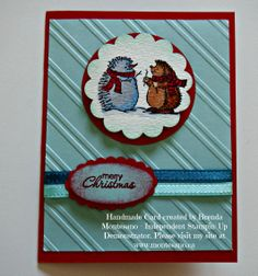 """Stampin' Up Card made with """"The Best of Snow"""" stamp set, Real Red & Pool Party cardstock and matching ribbon.  Handmade Card created by Brenda Montesano - Independent Stampin' Up Demonstrator. Please visit my site at www.montesano.ca"""