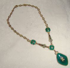 Czech Art Deco Enamel & Green Glass Necklace c1920