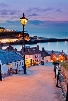 Whitby's 99 Steps by Mark Bulmer ~ Borough of Scarborough, Whitby, UK ~ 99 steps lead up to st Marry's Church and the Abby Beyond. Beautiful Vacation Spots, Beautiful Places In The World, Leeds, Bristol, 99 Steps, Places To Travel, Places To Visit, Liverpool, London England