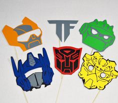 Transformers party props 6pc , photobooth by LeStudioRose on Etsy https://www.etsy.com/listing/270285992/transformers-party-props-6pc-photobooth
