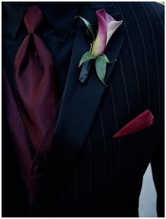 Flowers, Red, Wedding, Boutonniere, Lily, Calla, Tuxedo