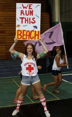 Bid Day, WE UP IN THIS BEACH! Sorority Recruitment Outfits, Recruitment Themes, Sorority Bid Day, Sorority Crafts, Sorority Life, Sorority Sugar, Sigma Kappa, Kappa Delta, Phi Mu