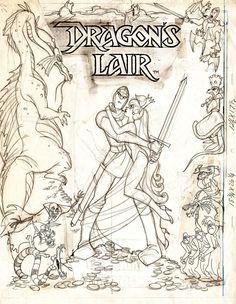 Cartoon Drawing Design Video Games Densetsu: Dragon's Lair / ドラゴンズレア (Arcade - Cinematronics -. Cartoon Sketches, Cool Sketches, Character Design Animation, Character Art, Storyboard, Animated Movie Posters, Video Game Art, Video Games, Dragons