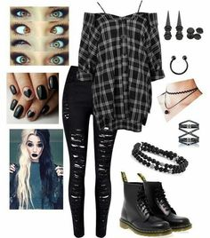 Chill day by emo-roxanne featuring Boohoo, WithChic, Dr. Martens, Eva Fehren and Hot Topic Tomboy Outfits, Cute Emo Outfits, Scene Outfits, Teenage Outfits, Gothic Outfits, Grunge Outfits, Outfits For Teens, Trendy Outfits, Girl Outfits
