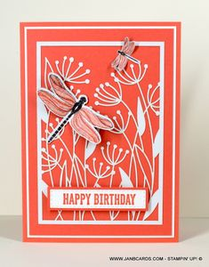 Dragonfly Garden Birthday Cards - JanB Cards Birthday Sentiments, Birthday Cards, Laser Cut Paper, Garden Birthday, Wink Of Stella, Foam Sheets, Circle Punch, Specialty Paper