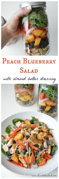 A healthy pack able lunch salad that's taste will blow your socks off! Peach Blueberry Salad on chocolatesalad.com