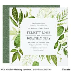 Shop Wild Meadow Botanical Wedding Invitation created by RedwoodAndVine. Personalize it with photos & text or purchase as is! Square Wedding Invitations, Botanical Wedding Invitations, Bridal Shower Invitations, Custom Invitations, Modern Invitations, Engagement Invitations, Garden Bridal Showers, Summer Bridal Showers, Bridal Shower Chalkboard