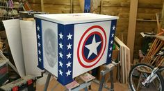 Bespoke Marvel Captain America halftone routered toy box. Spider man and Iron Man feature too. www.pqpod.co.uk, Carved toy box, carved storage box