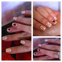 "Hearts and polka dots with Gelish color ""need a tan"""