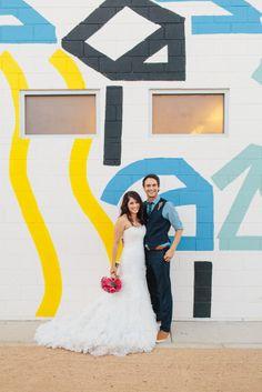 Sydney & John's Ace Hotel Wedding   Sweet Little Photographs   Mural by Erin Garcia
