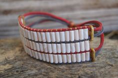 3-Row White Wampum Bracelet Grey Red Suede by NativeTraders