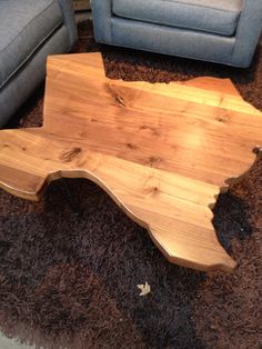Wooden Texas Shaped Coffee Table
