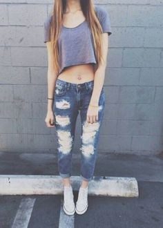 crop top ripped boyfriend jeans