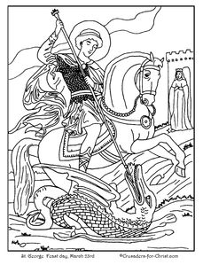 St. George Catholic coloring page.