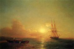 Айвазовский: Двадцатишести- пушечный корабль в виду берега 1852 95,5х141,5
