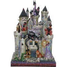Disney Traditions Tower of Fright Haunted Castle with Disney Villians Figurine