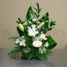 W Flowers product: Small Sympathy Arrangement in White Best Picture For Flower. W Flowers product: Orchid Flower Arrangements, Funeral Flower Arrangements, Artificial Flower Arrangements, Funeral Flowers, Artificial Flowers, Wedding Flowers, Simple Flowers, Beautiful Flowers, Spring Flowers