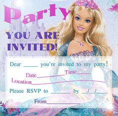 BARBIE COLORING PAGES: BARBIE PRINTABLE INVITATIONS FOR A PARTY