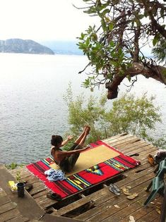Lake-side yoga is like a double shot of serenity