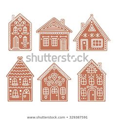 Gingerbread House Set Vector Hand Drawn Stock Vector (Royalty Free) 329387591 - Gifts and Costume Ideas for 2020 , Christmas Celebration Cardboard Gingerbread House, Easy Gingerbread House, Gingerbread House Designs, Gingerbread Cookies, Christmas Biscuits, Christmas Cookies, Holiday Crafts, Holiday Fun, July Crafts