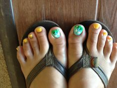 Daisy Summer nails - Natural Nails - China Glaze (tiffany blue), OPI marigold yellow, daisy design with grass- regular and glitter polish with rhinestone embelishment- By Jade Phuong's Nail Artist Team at Blackhawk Nail and Spa