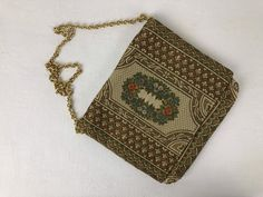 Vintage Brocade Event Purse with Gold Chain Arrow Necklace, Pendant Necklace, Vintage Purses, Champagne Color, Metallic Thread, Green Print, Colorful Interiors, Gold Chains, Trending Outfits