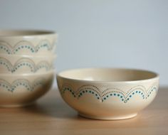DIY with ceramic paint pens-- i like this design!  you can get cheap plates/bowls/mugs at the dollar store