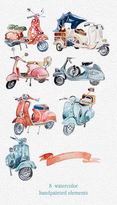 Retro-Fahrzeuge Retro-Roller Oldtimer von ArtCreationsDesign