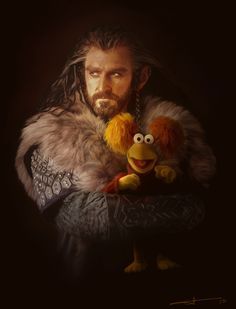 """The artist said, ''I thought it might be nice if, instead of a dragon, the Dwarves found Fraggles in their mountain. And they became friends and sang songs and ate radishes. And nobody had to die."""""""