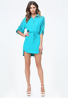 Roll Sleeve Shirtdress