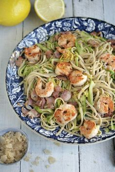 Chilli and Garlic Shrimp Linguine with Bacon, Zucchini and Lemon