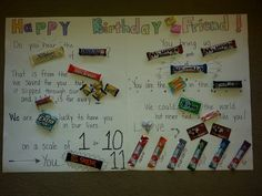 Birthday candy bar board