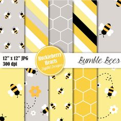 80% OFF SALE Bumble Bee Digital Paper, Bee Paper, Bumble Bees, Scrapbook Paper, Yellow and Black