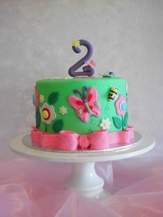 A garden themed cake with butterflies and flowers.