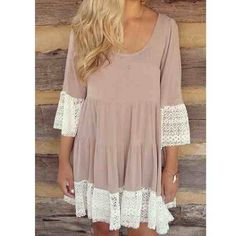 Katie Boho Spring Dress Super soft taupe boho dress. White lace trim and bell sleeves. Very flattering loose fitting dress. Length is knee length to above knee length. Available in small, medium & large! Dresses Mini