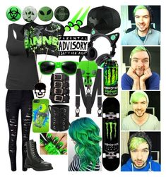 """""""Jackyboy (Jacksepticeye) Green Outfit"""" by rhiannon-src ❤ liked on Polyvore featuring Hot Topic, Brookstone and Trafalgar"""