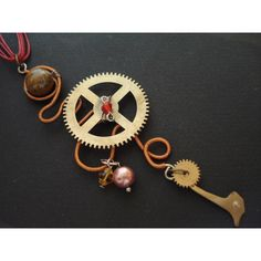 Steampunk Necklace Cuckoo Clock Parts Wire Wrapped with Tiger Eye... ($27) via Polyvore featuring accessories