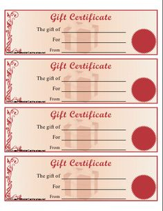 Blank Gift Certificates Saving Money Pinterest Free Printable - Numbered gift certificate template