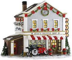 Ryan's Bike Shop Want it! Christmas In The City, Christmas Scenes, Beautiful Christmas, Christmas Home, Department 56 Christmas Village, Lemax Christmas Village, Christmas Villages, Gingerbread House Designs, Villas