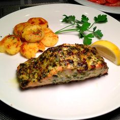 "Broiled Herb-Crusted Salmon | ""I wouldn't change a thing. This recipe is AWESOME. I love that you still can taste the fish even after all this herbs."""