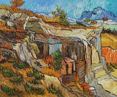 """Entrance to a Quarry near St. Remy"",  (1889) by Vincent Van Gogh - Oil Painting"