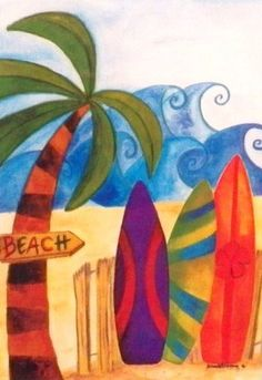 """Beach, Waves, Surf Boards, and a Palm Tree Small Applique Yard Flag 12.5"""" x 18"""" . $6.99. Colorfast. Durable Construction. Small Flag 12.5 inch x 18 inch. Fade Resistant. Indoor / Outdoor. Catch some waves with this fun beach scene.  Crazy big waves, surf boards, and a palm tree on a sandy beach."""