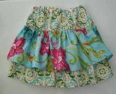 2 Tiered Ruffled Girls Skirt Size 2 or 3 Ready to Ship via Etsy