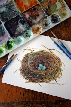 watercolor paintings of parrots | Watercolor Birds Nest Painting - Original Watercolor. wow.